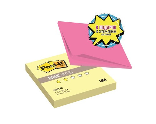 Клейкие листки Post-it Basic канареечный желтый 76х76 мм 100 листов - (482552К)
