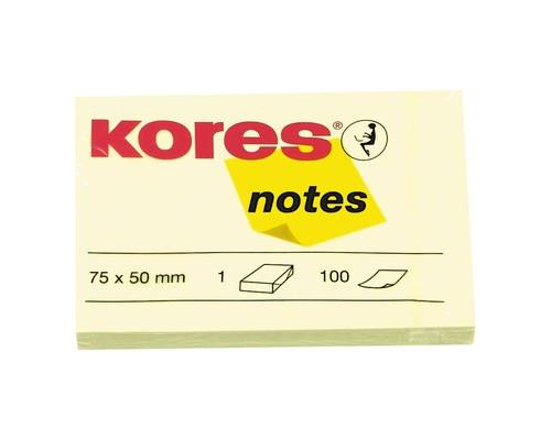 Клейкие листки Kores 75x50 мм желтые пастельные 100 листов - (56395К)
