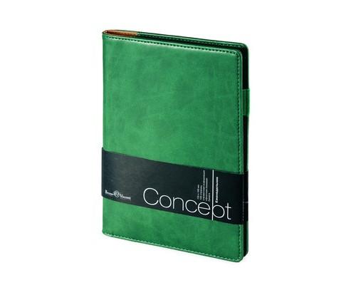Еженедельник недатированный Concept искусственная кожа А5 64 листа зеленый 150x208 мм - (468458К)