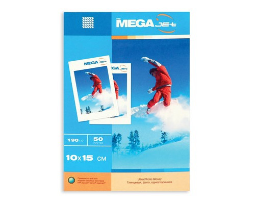 Фотобумага MEGA Jet Photo глянцевая 10х15 190 г/кв.м 50 листов - (75346К)