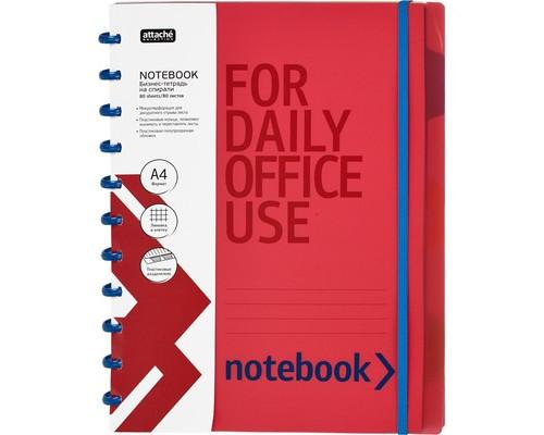 Бизнес-тетрадь Attache Selection Office Creative А4 80 листов красная в клетку с фиксирующей резинкой 4 разделителя на спирали 225х298 мм - (383096К)
