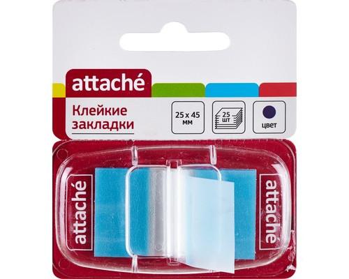 Закладки клейкие Attache пластиковые синие 25 листов 25х45 мм в диспенсере - (166083К)