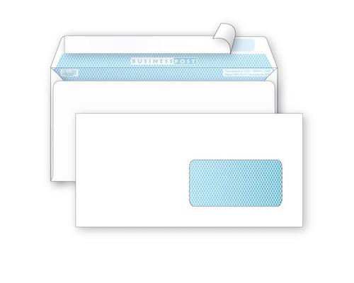 Конверт почтовый BusinessPost E65 110x220 мм белый удаляемая лента правое окно 1000 штук в упаковке - (76416К)