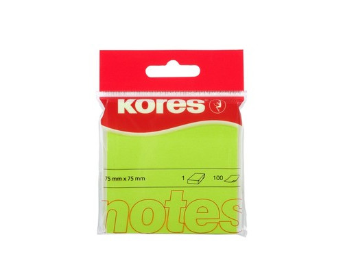 Клейкие листки Kores 75x75 мм зеленые неоновые 100 листов - (330458К)