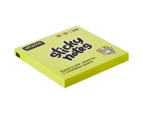 Клейкие листки Attache Selection 76x76 мм желтые неоновые 100 листов - (383702К)