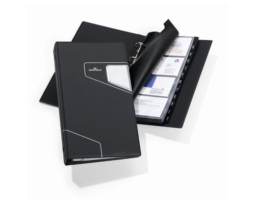 Визитница настольная Durable Visifix Pro искусственная кожа на 200 визиток черная - (266555К)