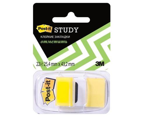 Закладки клейкие Post-it пластиковые желтые 22 листа 25.4х43.2 мм в диспенсере - (265902К)