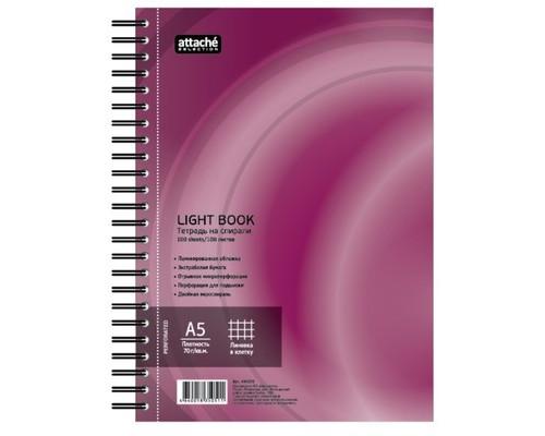 Бизнес-тетрадь Attache Selection LightBook А5 100 листов бордовая в клетку на спирали 160х204 мм - (494595К)