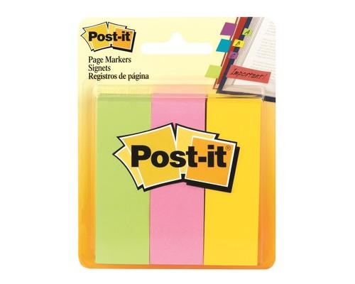 Закладки клейкие Post-it бумажные 3 цвета по 100 листов 22.2x73 мм - (494572К)