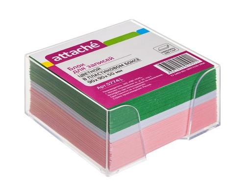 Блок для записей Attache 90x90x50 мм цветной в прозрачном боксе - (57741К)