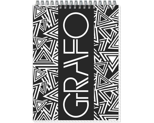 Блокнот Полином Графо А5 50 листов черный с белым в клетку на металлическом гребне 145х203 мм - (272084К)