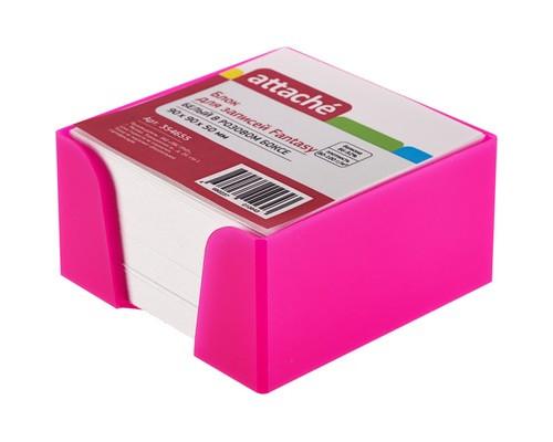 Блок для записей Attache Fantasy 90x90x50 мм белый в розовом боксе - (354655К)