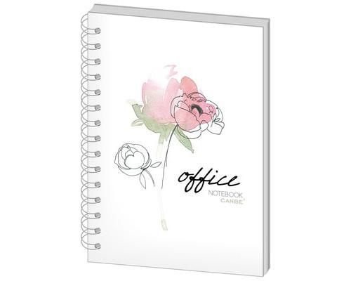 Бизнес-тетрадь Canbe Office Flowers А5 60 листов в ассортименте в клетку на спирали 140х185 мм - (498449К)