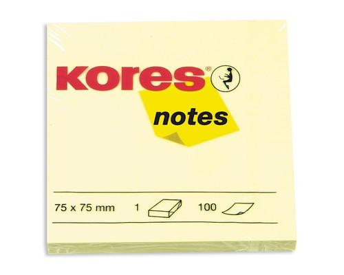 Клейкие листки Kores 75x75 мм желтые пастельные 100 листов - (56396К)