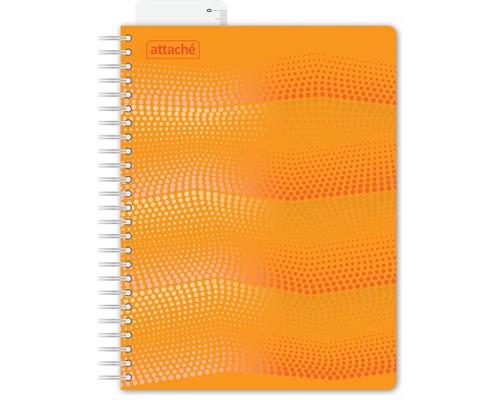Бизнес-тетрадь Attache Waves А5 100 листов оранжевая в клетку на евроспирали с линейкой 162х205 мм - (272859К)