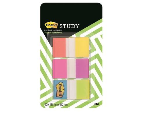 Закладки клейкие Post-it пластиковые 23.8x43.2мм 6 цветов по 10 листов - (618407К)
