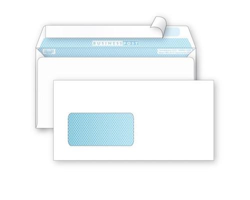Конверт почтовый BusinessPost E65 110x220 мм белый удаляемая лента левое окно 1000 штук в упаковке - (76412К)