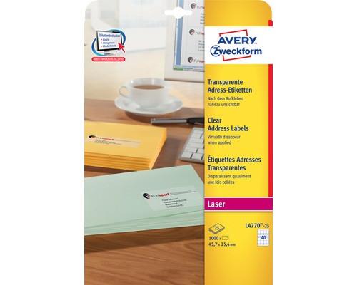 Этикетки самоклеящиеся Avery Zweckform адресные прозрачные 45.7x25.4 мм 40 штук на листе A4, 25 листов - (33537К)