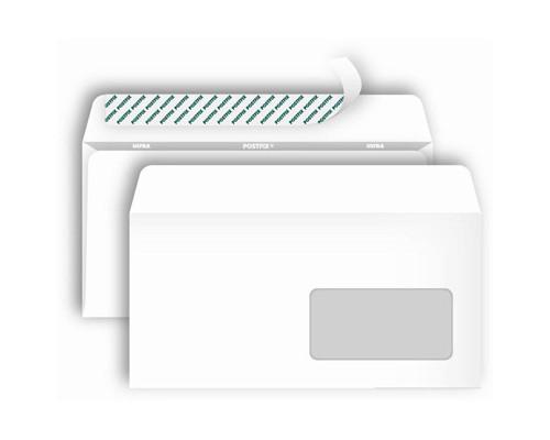 Конверт почтовый Postfix Bong Е65 110x220 мм белый удаляемая лента правое окно 1000 штук в упаковке - (269727К)
