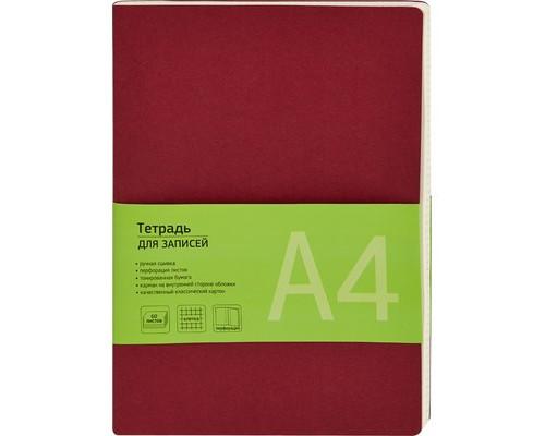 Бизнес-тетрадь Attache Office Style А4 60 листов бордовая в клетку на сшивке 195х275 мм - (370305К)