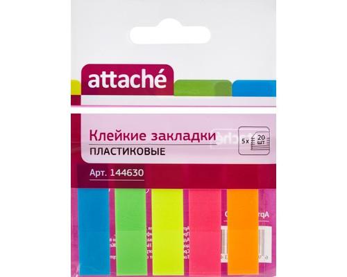 Закладки клейкие Attache пластиковые 5 цветов по 20 листов 12х45 мм - (144630К)