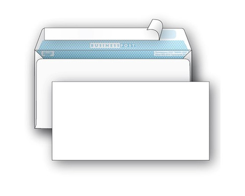 Конверт почтовый BusinessPost E65 110x220 мм белый удаляемая лента 1000 штук в упаковке - (76413К)