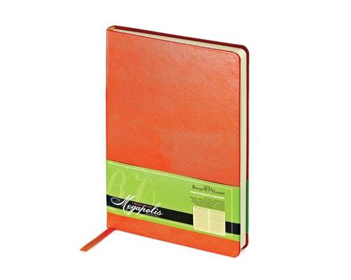 Ежедневник недатированный Megapolis искусственная кожа А5 160 листов оранжевый 144х215 мм - (389394К)