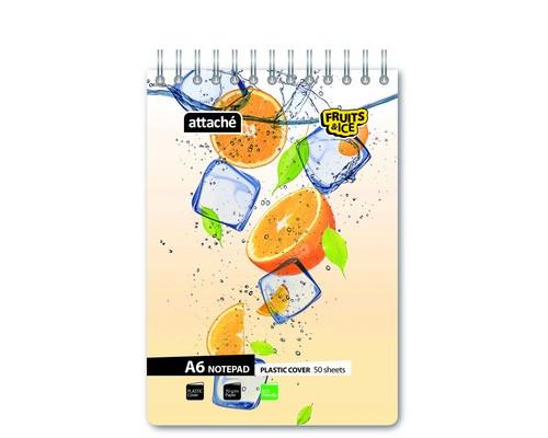 Блокнот Attache Fruit&Ice Апельсины А6 50 листов цветной в клетку на спирали 106х157 мм - (401147К)