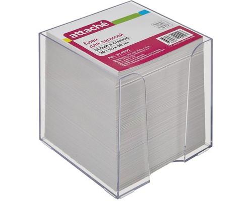 Блок для записей Attache Эконом 90x90x90 мм белый в прозрачном боксе - (314591К)