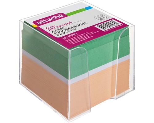 Блок для записей Attache 90x90x90 мм цветной в прозрачном боксе - (45880К)