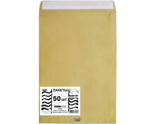 Пакет почтовый Multipack E4 из крафт-бумаги стрип 300x400 мм 100 г/кв.м 50 штук в упаковке - (76390К)