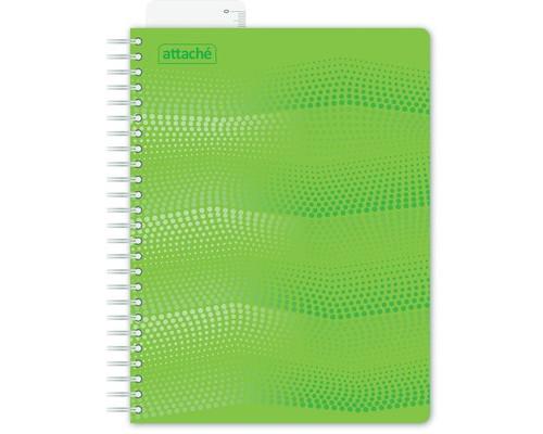 Бизнес-тетрадь Attache Waves А5 100 листов зеленая в клетку на евроспирали с линейкой 162х205 мм - (272848К)