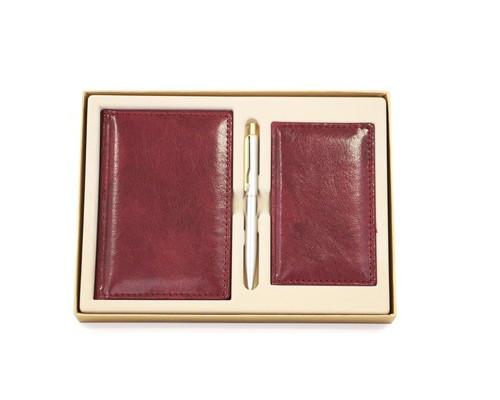 Набор недатированный Attache Марта бордовый ежедневник А6 записная книжка визитница ручка - (451615К)