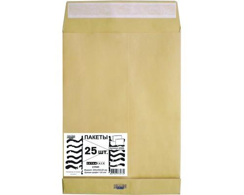 Пакет почтовый Extrapack E4 из крафт-бумаги стрип 300x400 мм 120 г/кв.м 25 штук в упаковке - (76393К)