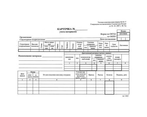 Бланк Карточка учета материалов форма М-17 офсет А5 154x216 мм 1000 штук в коробке - (117335К)