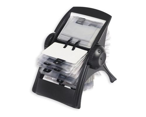 Картотека ICO на 400 визиток вращающаяся черная - (56060К)