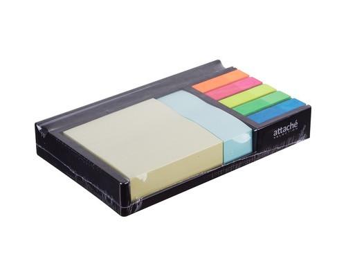 Набор Attache Selection в диспенсере клейкие листки 76x76 мм и 76x25 мм, клейкие закладки 12x45 мм 5 цветов по 20 листов - (383736К)