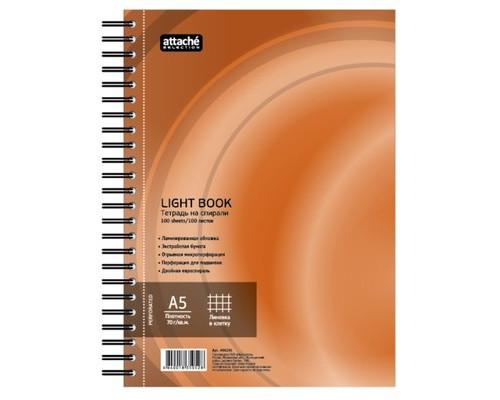 Бизнес-тетрадь Attache Selection LightBook А5 100 листов оранжевая в клетку на спирали 160х204 мм - (494596К)