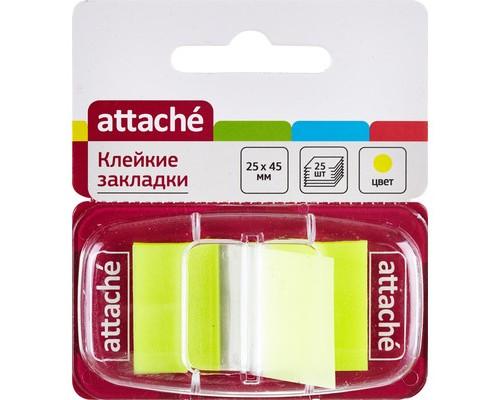 Закладки клейкие Attache пластиковые желтые 25 листов 25х45 мм в диспенсере - (166081К)