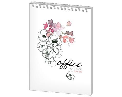 Блокнот Canbe Office Flowers А5 40 листов в ассортименте в клетку на спирали 140х198 мм - (498452К)
