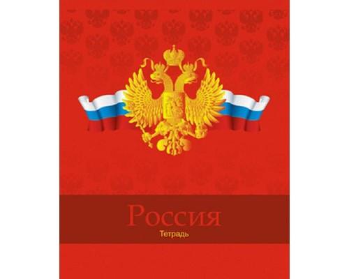 Тетрадь общая Российская символика герб-флаг А5 на скрепке 48 листов в клетку - (384999К)