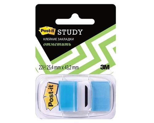 Закладки клейкие Post-it пластиковые голубые 22 листа 25.4х43.2 мм в диспенсере - (265899К)