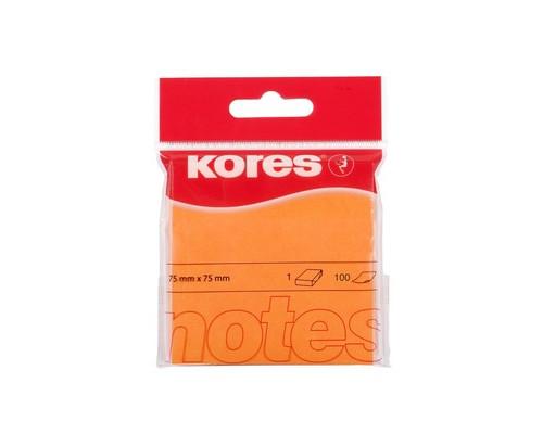 Клейкие листки Kores 75x75 мм оранжевые неоновые 100 листов - (330459К)