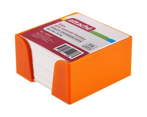 Блок для записей Attache Fantasy 90x90x50 мм белый в оранжевом боксе - (354657К)