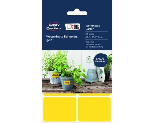Этикетки самоклеящиеся Living всепогодные желтые 47.5x35 мм 6 штук на листе А5 4 листа - (501793К)