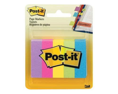 Закладки клейкие Post-it бумажные 5 цветов по 100 листов 12.7х44.4 мм - (425603К)