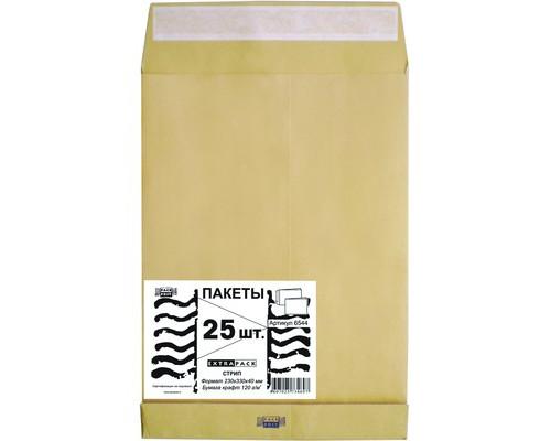 Пакет почтовый Extrapack С4 из крафт-бумаги с расширением стрип 229х324 мм 120 г/кв.м 25 штук в упаковке - (76391К)