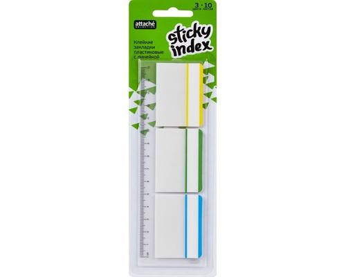 Закладки клейкие Attache Selection пластиковые 3 цвета по 10 листов 37x50 мм на линейке - (383741К)