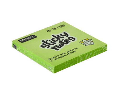 Клейкие листки Attache Selection 76x76 мм зеленые неоновые 100 листов - (383705К)