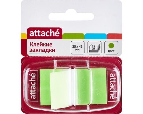 Закладки клейкие Attache пластиковые зеленые 25 листов 25х45 мм в диспенсере - (166082К)